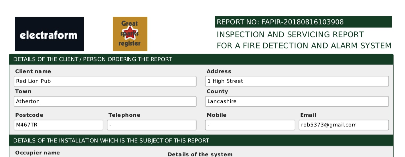 Fire alarm inspection and servicing report